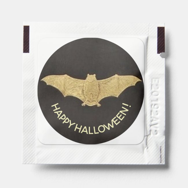 Happy Halloween Face Vintage Gold Bat on Black Hand Sanitizer Packet