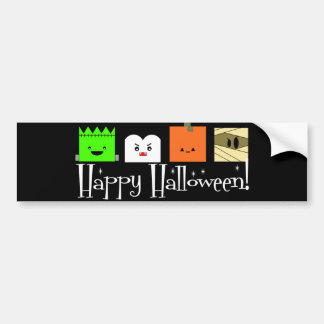 Happy Halloween Faces Bumper Sticker