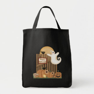 Happy Halloween Fall Scene Grocery Tote Bag
