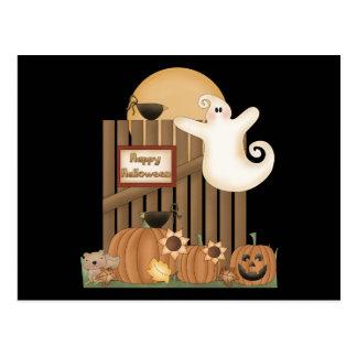 Happy Halloween Fall Scene Postcard
