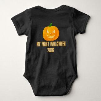 Happy Halloween first custom pumpkin baby shirt