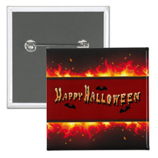 Happy Halloween Flaming Set Pinback Button