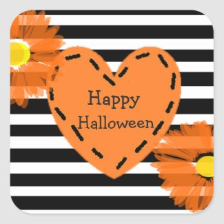 Happy Halloween Floral Heart Stickers