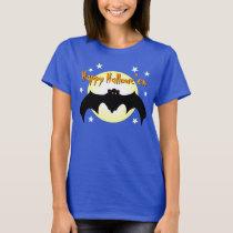 Happy Hallowe'en Flying Bat Orange Eyes Moon Stars T-Shirt