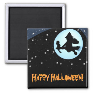 Happy Halloween Flying Witch and Monkey Magnet