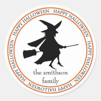Happy Halloween Flying Witch (Black / Orange) Classic Round Sticker