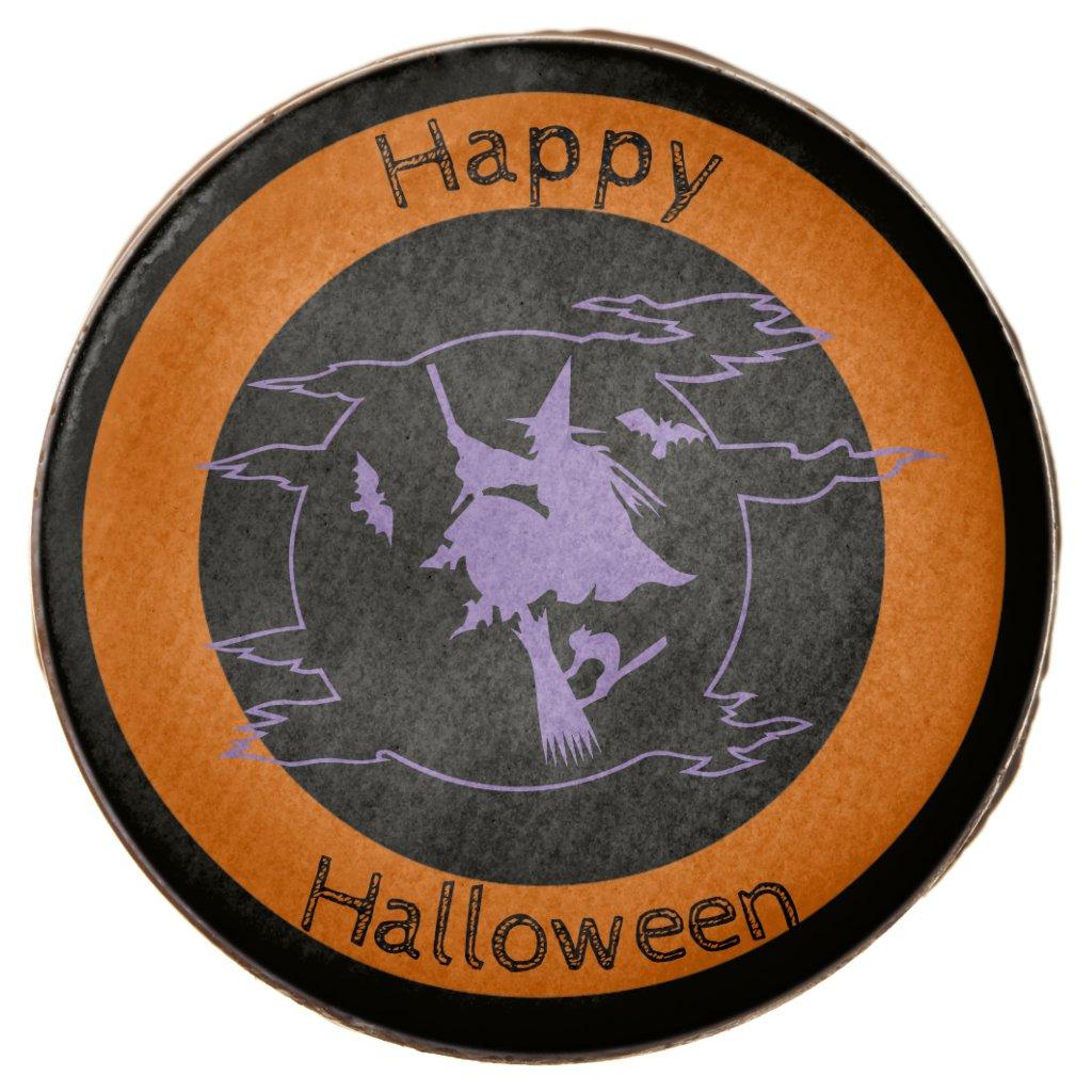 Happy Halloween Flying Witch on Broom Cookies