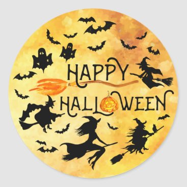 Halloween Themed HAPPY HALLOWEEN, Flying Witches, Bats & Ghosts Classic Round Sticker
