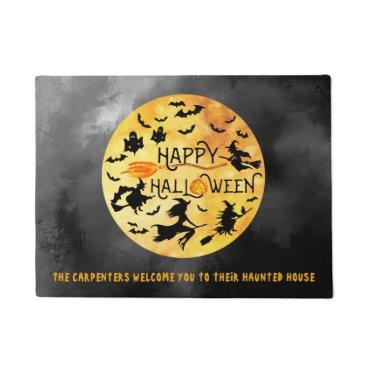 Halloween Themed HAPPY HALLOWEEN, Flying Witches, Ghosts & Bats Doormat