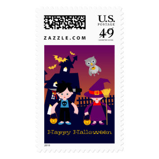 Happy Halloween Freaky Boy Postage Stamps