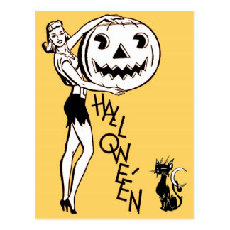 Happy Halloween from a Tempting Lady Postcard