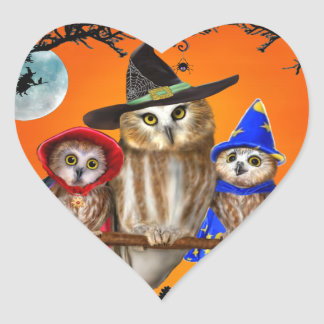 HAPPY HALLOWEEN FROM OWL OF US! HEART STICKER