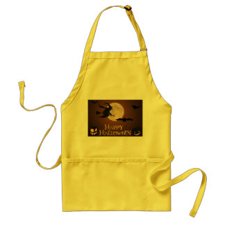 Happy Halloween; Full Moon and Witch Adult Apron