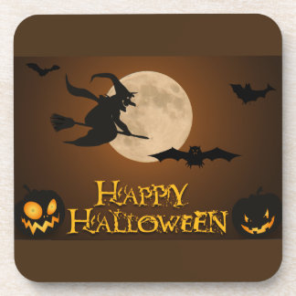 Happy Halloween; Full Moon and Witch Beverage Coaster