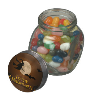 Happy Halloween; Full Moon and Witch Glass Jar
