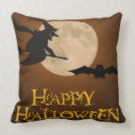 Happy Halloween; Full Moon and Witch Throw Pillow