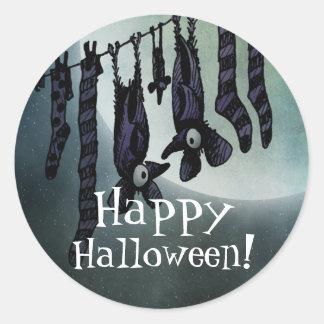 Happy Halloween Full Moon Funny Bats Party Classic Round Sticker