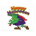 happy halloween funny frankenstein cartoon post card