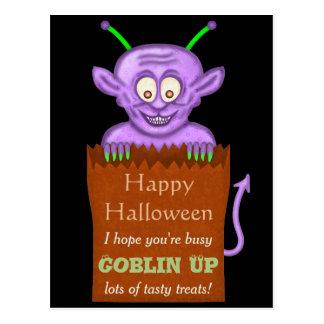 Happy Halloween Funny Purple Goblin Pun Postcard