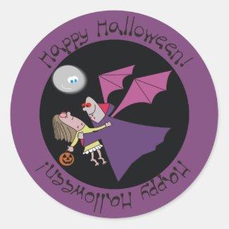 Happy Halloween Funny Vampire Round Stickers