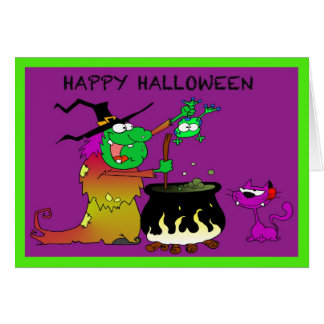 Happy Halloween Funny Witch And Purple Cat Card