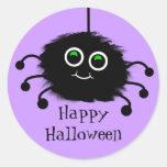 Happy Halloween Fuzzy Toon Spider Classic Round Sticker