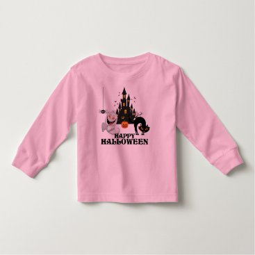 Halloween Themed Happy Halloween Ghost cat spider bat pumpkin pink Toddler T-shirt
