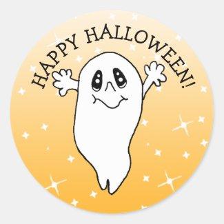 Happy Halloween Ghost Classic Round Sticker