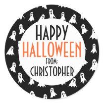 Happy Halloween Ghost Pattern Kids Personalized Classic Round Sticker