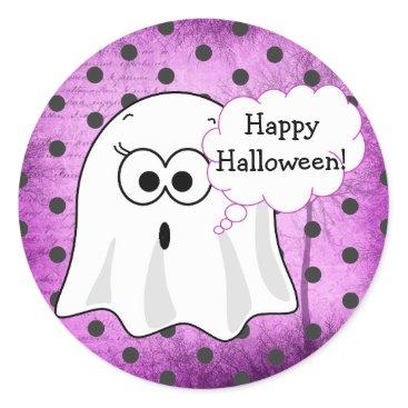 Halloween Themed Happy Halloween Ghost Purple Stickers