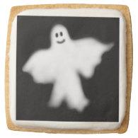 Happy Halloween Ghost Shortbread Cookies Square Sugar Cookie