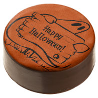 Happy Halloween Ghost with Sign Chocolate Dipped Oreo
