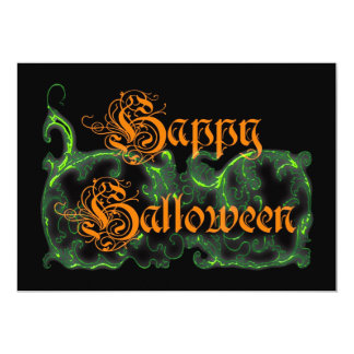Happy Halloween Ghostly Green Scrolls Personalized Invitations