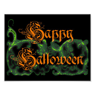 Happy Halloween Ghostly Green Scrolls Poster