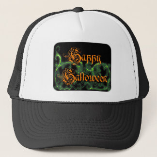 Happy Halloween Ghostly Green Scrolls Trucker Hat