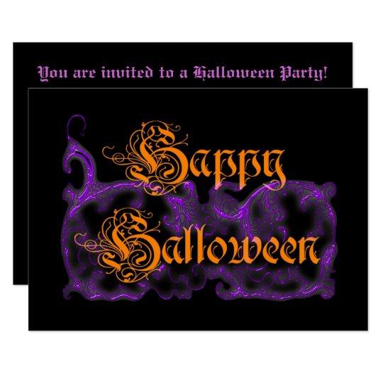 Happy Halloween Ghostly Purple Scrolls Card