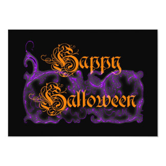 Happy Halloween Ghostly Purple Scrolls Custom Announcements