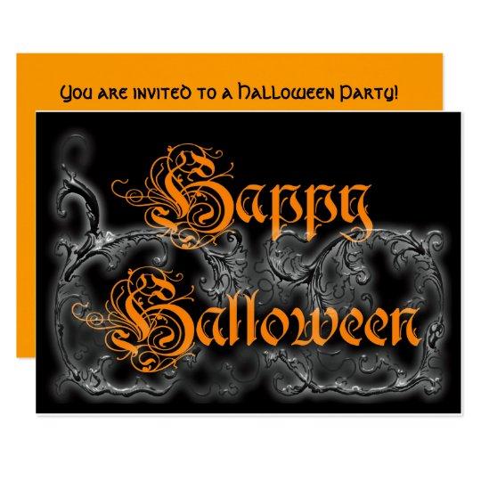 Happy Halloween Ghostly Scrolls Card