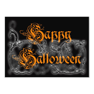Happy Halloween Ghostly Scrolls Personalized Announcement