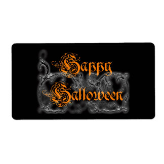 Happy Halloween Ghostly Scrolls Label