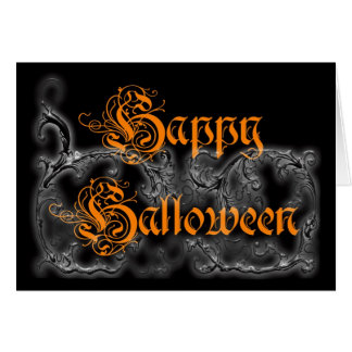 Happy Halloween Ghostly Scrolls personalize card