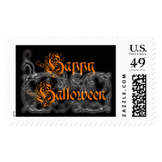 Happy Halloween ghostly scrolls Postage