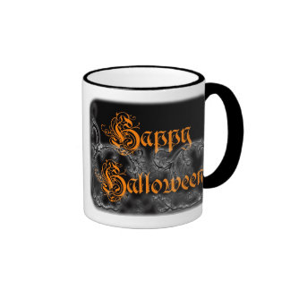 Happy Halloween Ghostly Scrolls Ringer Mug