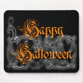 Happy Halloween Ghostly Scrolls White Mouse Pad