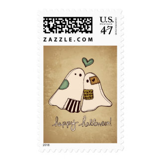 happy halloween ghosts postage