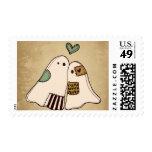 happy halloween ghosts postage stamp