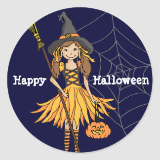 Happy Halloween girls cute witch stickers