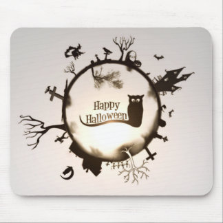 Happy Halloween Globe Cat Haunted House Witch Mouse Pad