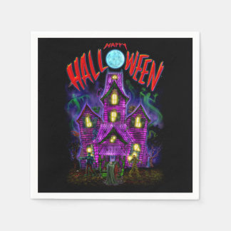 Happy Halloween Glowing Haunted House Napkins Standard Cocktail Napkin