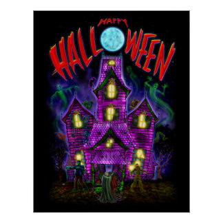 Happy Halloween Glowing Haunted House Poster